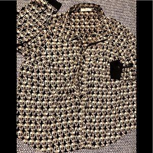 Anthropologie Jenny B skull blouse with tie SZ 1X